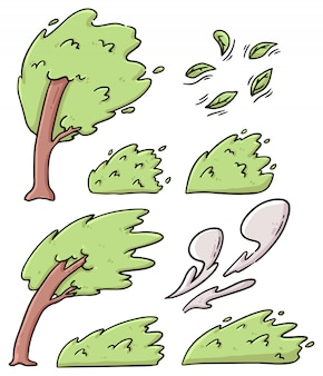 Set of windy trees, leaves and bushes cartoon illustration