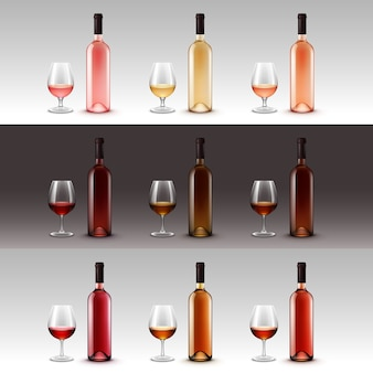 Set of wine bottles and glasses isolated on background