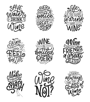 Set of wine lettering compositions in modern style.