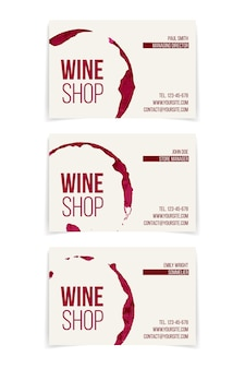 Set of wine shop business cards isolated on white