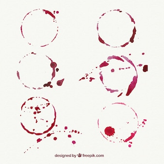 Set of wine stains with splashes