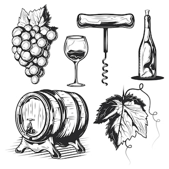 Set of winemaking elements (barrel, grapes, bottle etc.)