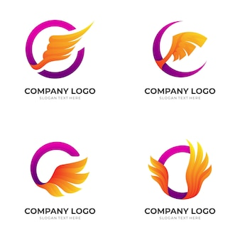 Set wing logo with circle icon design combination, 3d colorful style