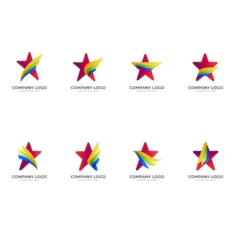 Set wing star logo, star and wing, combination logo with 3d colorful style