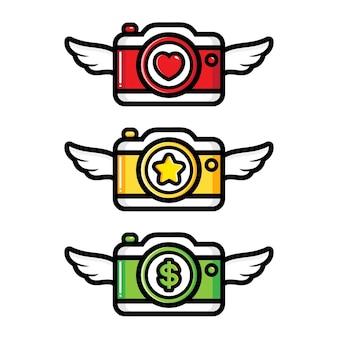 Set of winged camera vector design