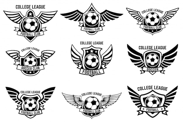 Set of winged emblems with soccer ball.  element for logo, label, emblem, sign.  illustration