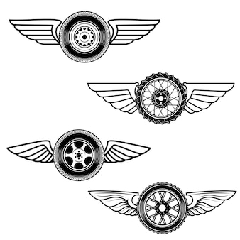 Set of winged wheels.  element for logo, label, emblem, sign.  illustration