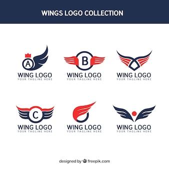 Set of wings logos