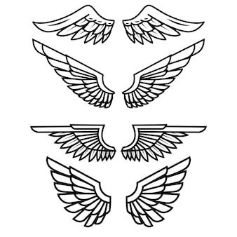 Set of the wings  on white background.  elements for logo, label, emblem, sign, badge.  illustration