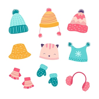 Set winter accessories, hats, mittens. cartoon illustration.