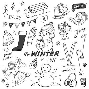 Set of winter activities in doodle style