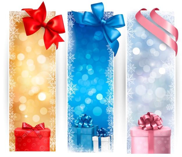 Set of winter christmas banners   illustration
