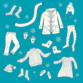 Set of winter clothing items