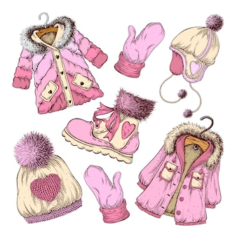 Set of winter clothing.