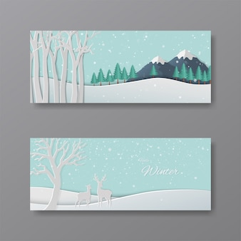 Set of winter collection, paper art deer in the forest with snowflakes