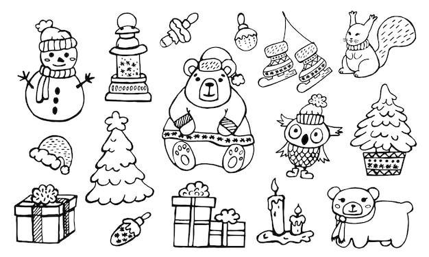 Set of winter doodle black outline illustration