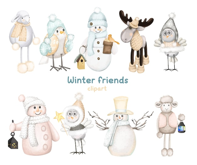Set of winter forest animals and snowmen christmas cute characters clipart