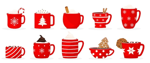 Set a winter holiday christmas cup with a hot drink