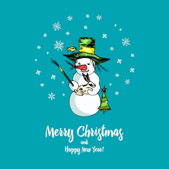 Set of winter holidays snowman in different costumes. photographer and artist with gifts.