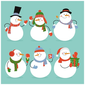 Set of winter holidays snowman in different costumes