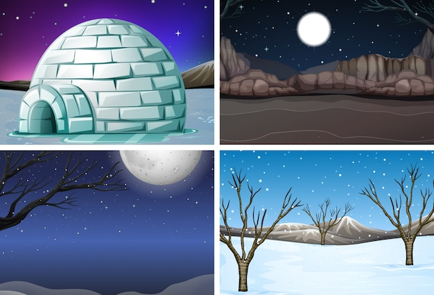Set of winter night scene