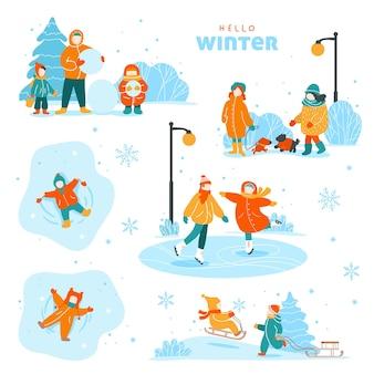 Set of winter outdoor activities