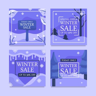 Set of winter promo sale design template for social media post