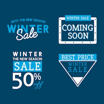 Set of winter sale badge vectors