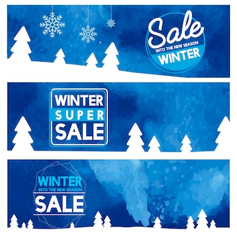 Set of winter sale banner vectors