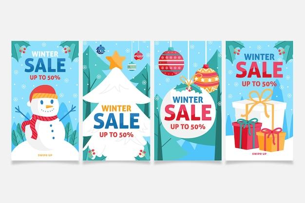 Set di storie di instagram di vendita invernale