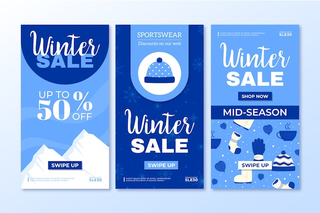 Set di storie sui social media di vendita invernale