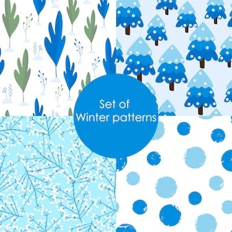 Set of winter seamless patterns.