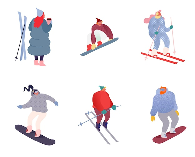 Set of winter sport people characters. sportsman on snowboard, skis. snowboarding, skiing and skating sports. snowboarder jump, healthy family holiday vacation isolated flat.