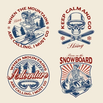 Set of winter sport themed for apparel