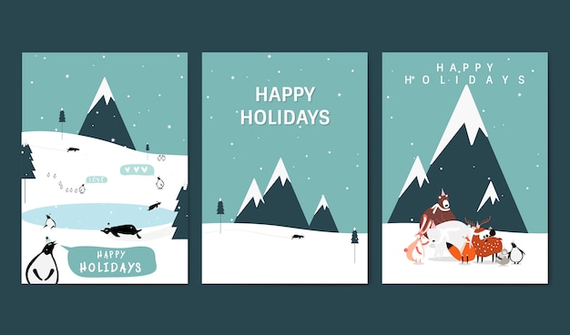 Set of winter themed greeting cards vector