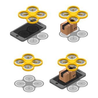 Set wireless drone delivery online isometric. delivery parcel package using drone on screen smartphone