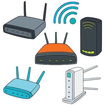 Set of wireless router Premium Vector