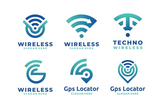 Set of wireless signal gradient logo vector
