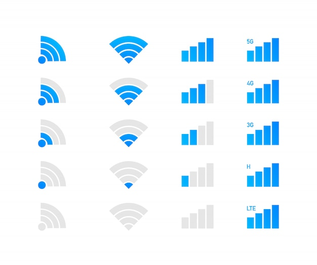 Set of wireless wifi icons. mobile phone system icons.