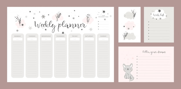 Set of wish list template, sticker book, weekly planner page