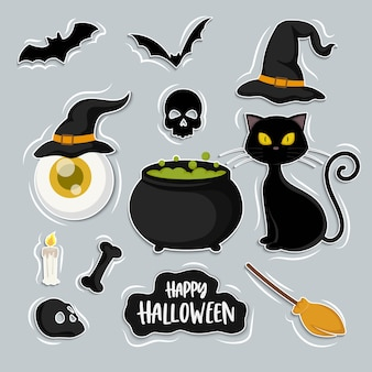Set of witch and cat cartoon, halloween elements set, isolated on background