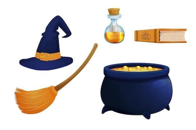 병에 빗자루 가마솥 독이 있는 마녀 모자를 설정하고 만화 스타일의 마법 요소를 예약하세요