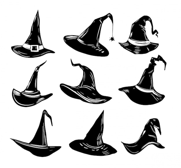 Set of witch hats. halloween.