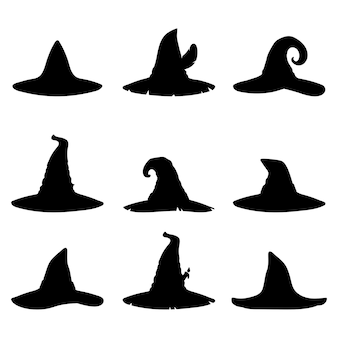 Set of witch hats silhouettes isolated on white backgroundhalloween vector illustration in flat