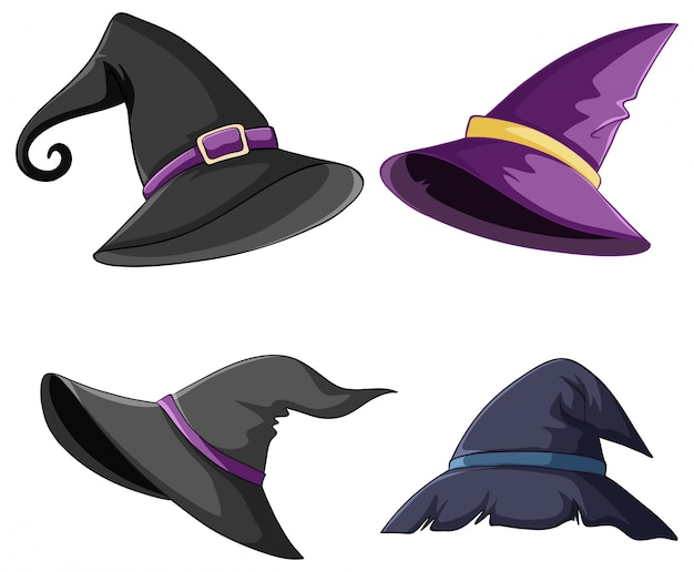 Set of witch and wizard hat