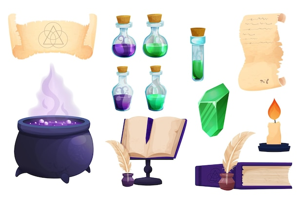 Set witchcraft tools magic bottles with liquid potion witch cauldron parchment scroll with quill