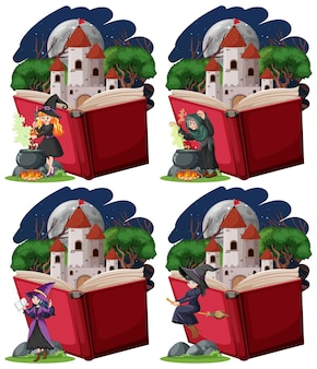 Set of witches and castle tower with pop up book cartoon style on white background