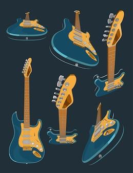 Набор с 3d реалистичной цветной электрогитарой. различные углы и трехмерные проекции гитары. 3d векторная модель гитары иллюстрации. баннер, плакат, картина в винтажном стиле.