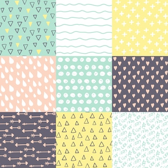 Set with 9 hand drawn doodle seamless patterns.
