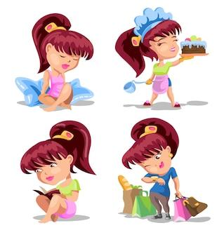 귀여운 소녀와 함께 설정합니다. 소녀는 일어나서 책을 읽고 상점에서 구매하고 케이크를 요리했습니다. 활동적인 소녀의 일상적인 벡터 만화 라이프스타일 캐릭터 세트. 일상의 소녀.
